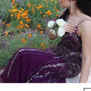 Plum beeded prom dress